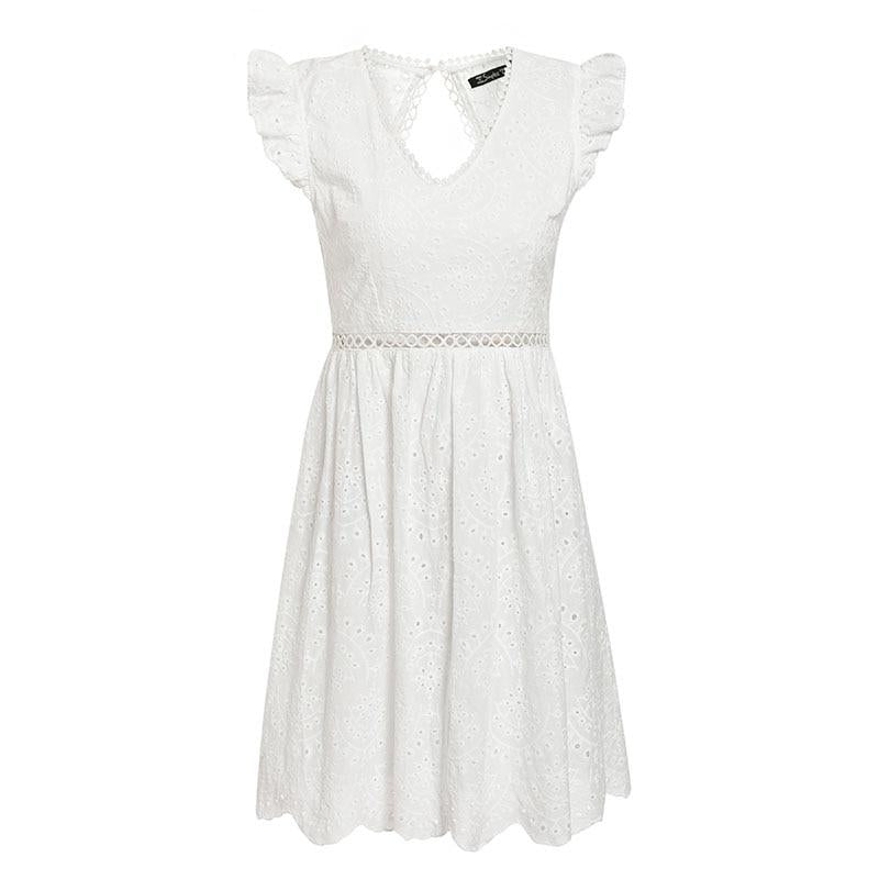 V Neck Ruffle Cotton Lace Dress