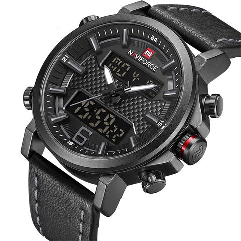 Men's Leather Fashion Led Sports Watch