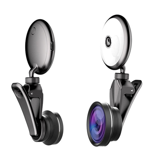 Universal Selfie Ring Light with HD Fisheye Wide Angle Macro Lens - Zalaxy