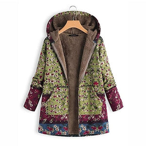 Women's Plus Size Printed Winter Parka Cotton Liner Hoodies