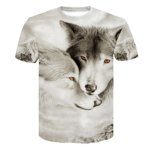 Wolf 3D Print Animal Short Sleeve T-Shirt Men Summer Tops