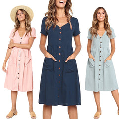 V Neck Pocket Buttoned Dress