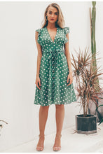 Load image into Gallery viewer, Polka Dot Green Summer Dress