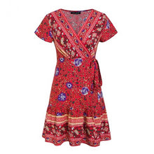 Load image into Gallery viewer, Bohemian Floral Mini Women Dress - Zalaxy
