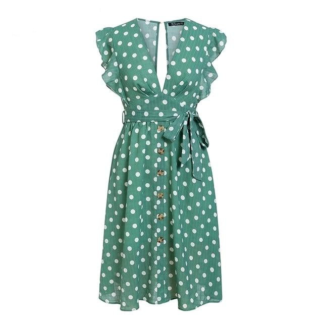 Polka Dot Green Summer Dress