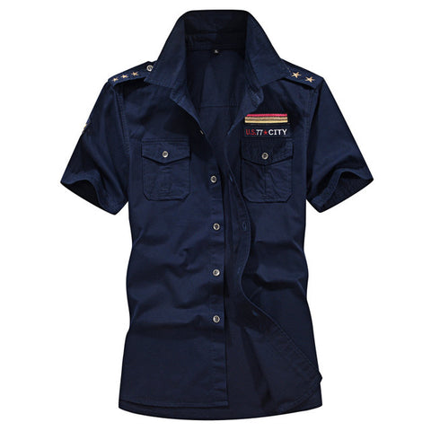 Cotton Military Cargo Shirt Men