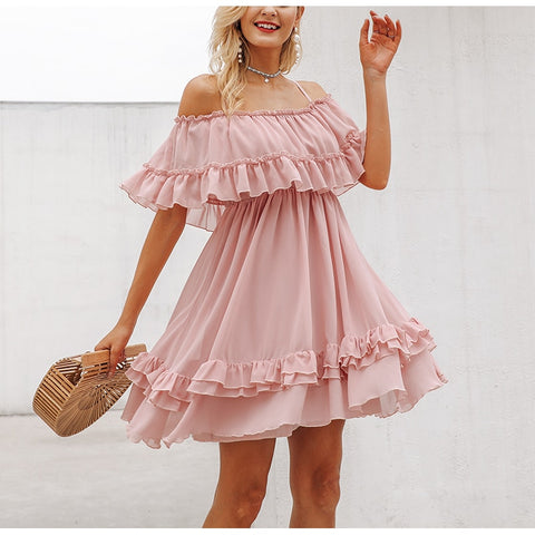 Off Shoulder Strap Chiffon Dresses