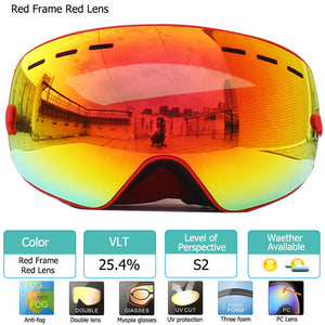 UV400 Anti-fog Double Layers Ski Goggles