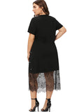 Plus Size Lace Splice T-Shirt Dress