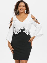 Plus Size Criss Cross Flare Sleeve Dress