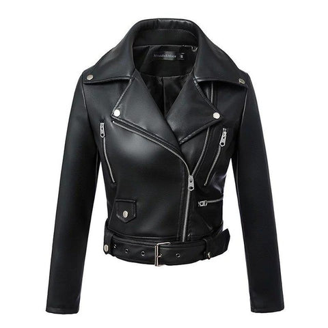 Women's Autumn/Winter Black Faux Leather Jackets C02 - Zalaxy