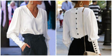 Load image into Gallery viewer, V Neck Women Blouse Shirt Puff Sleeve