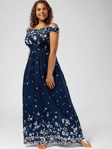 Plus Size Shoulder Maxi Dress