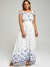 Load image into Gallery viewer, Plus Size Shoulder Maxi Dress