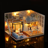 DIY Wooden Doll House With Furniture Kit & LED Lights - Zalaxy