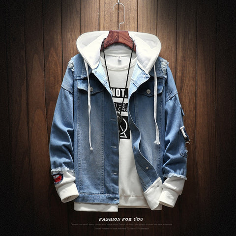 Men's Hooded Casual Denim Jacket - Zalaxy