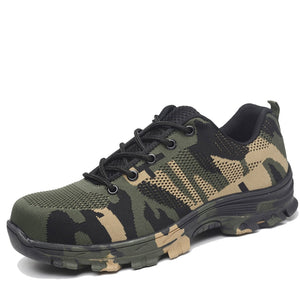 Unisex Air Mesh Safety Work Boots Camouflage Steel Toe Plus Size