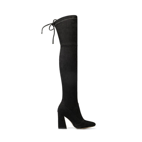 Women's Flock Leather Over The Knee Boots
