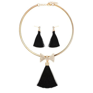 Crystal Tassel Necklace and Earrings Set