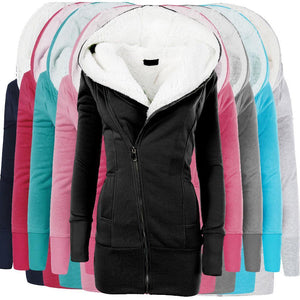 Winter Women Warm Wool Jackets Cotton Coat Padded Long Hooded