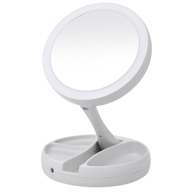 Portable LED Lighted Makeup 10X Magnifying Vanity Mirror - Zalaxy