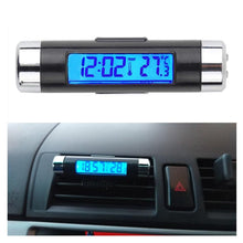 Load image into Gallery viewer, 2 in 1 Blue Backlight Car Digital LCD Temperature Thermometer Clock - Zalaxy