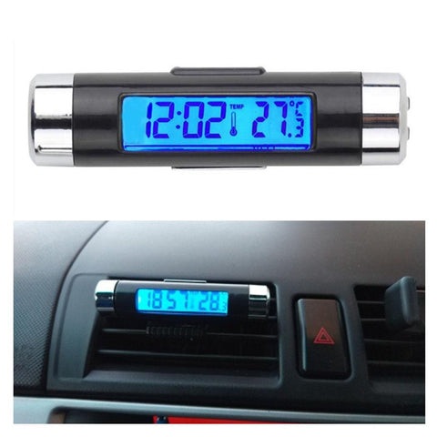 2 in 1 Blue Backlight Car Digital LCD Temperature Thermometer Clock - Zalaxy