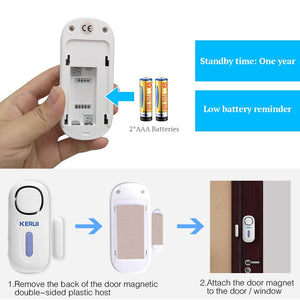 Security Burglar Sensor PIR Door Magnetic Alarm System Security With Remote Control