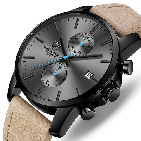 Men's Fashion Leather Chronograph Sports Watch