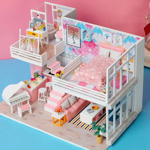 Doll House Furniture with LED 3D Wooden