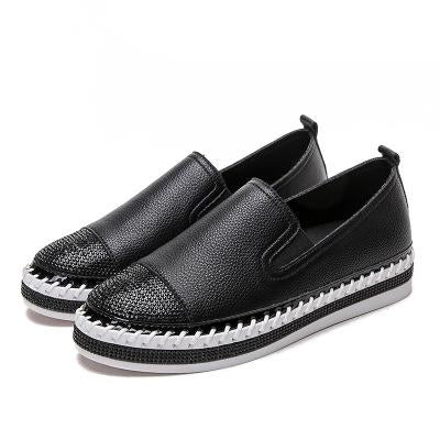 Woman Genuine Leather Creepers Flats