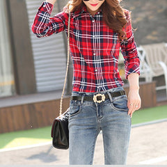 Cotton Checkered Plaid Blouses Shirt