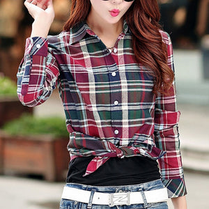 Cotton Checkered Plaid Blouses Shirt - Zalaxy