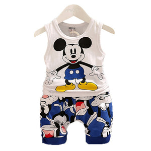 Baby boys Clothing Sets Cartoon Mickey Mouse boys top T-shirt Shorts - Zalaxy