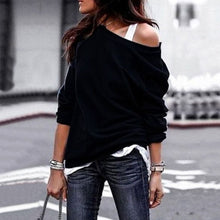 Load image into Gallery viewer, Loose Black Pullover Tops