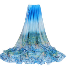 Load image into Gallery viewer, Summer Print Silk Scarf Oversized Chiffon