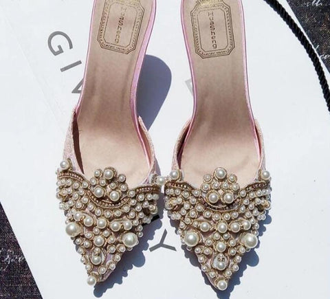 Pearl Beaded High Heels