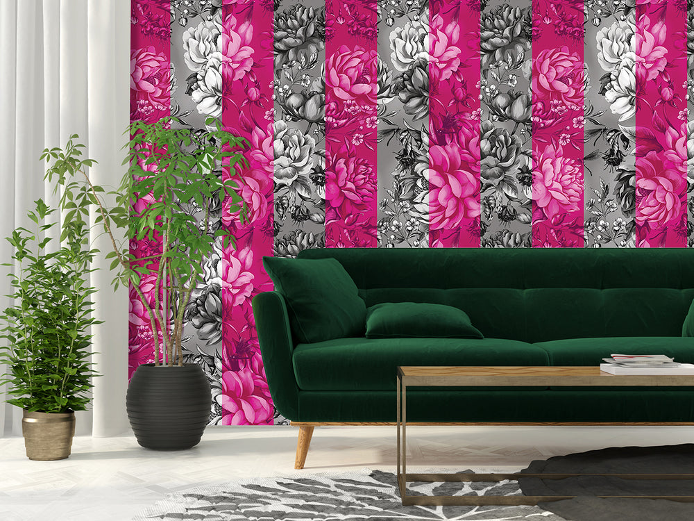 Destiny Manifest - Oversized Hot Pink Peony Stripe Wallpaper