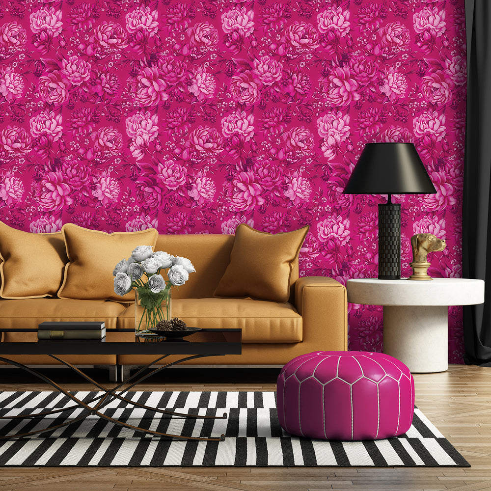 Divine Magnificence Oversized Hot Pink Peony Floral Wallpaper
