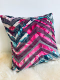 Pink Peony Throw Cushion - Italian Chevron Velvet