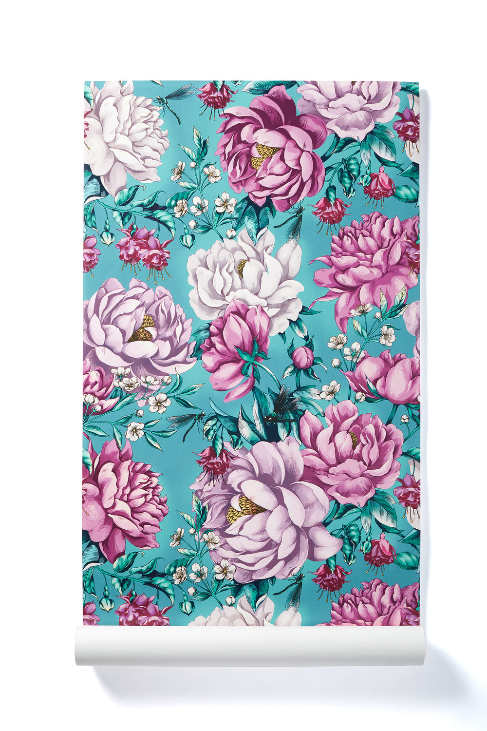 Magical Awakening - Oversized Teal & Pink Peony Floral Wallpaper, Polished Finish