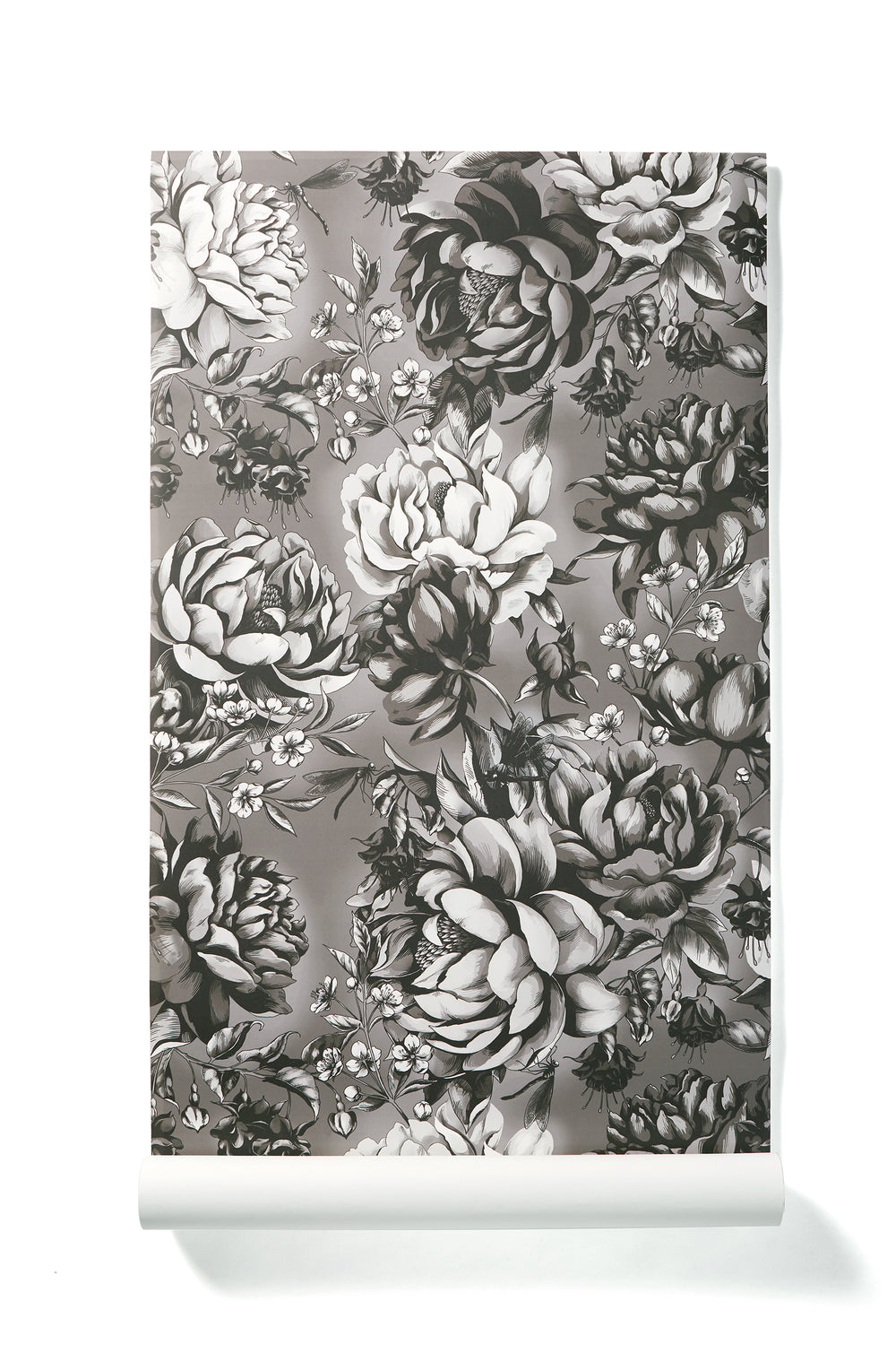 Splendid Opulence - Oversized Black & White Classic Peony Floral Wallpaper