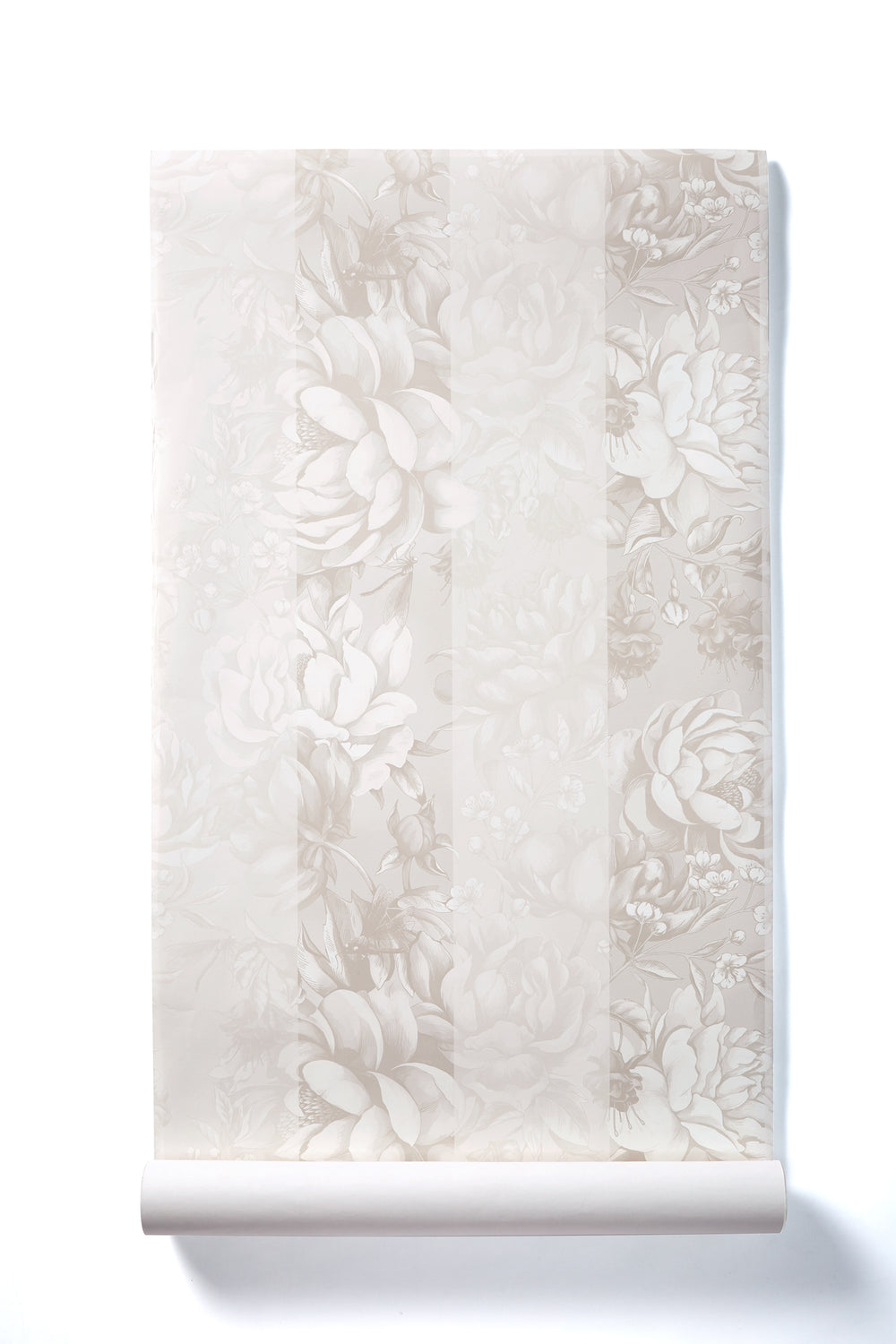 Sweet Sweet Life - Oversized Cream Peony Stripe Floral Wallpaper