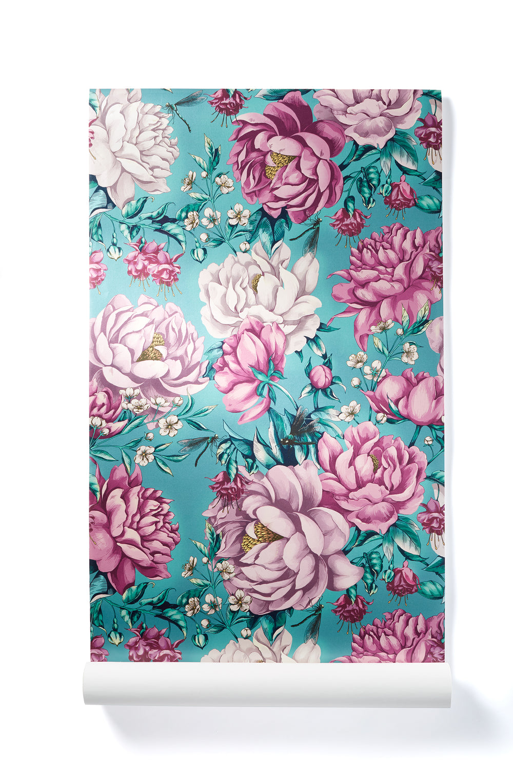 Magical Awakening - Oversized Teal & Pink Peony Floral Wallpaper, Shimmer Finish