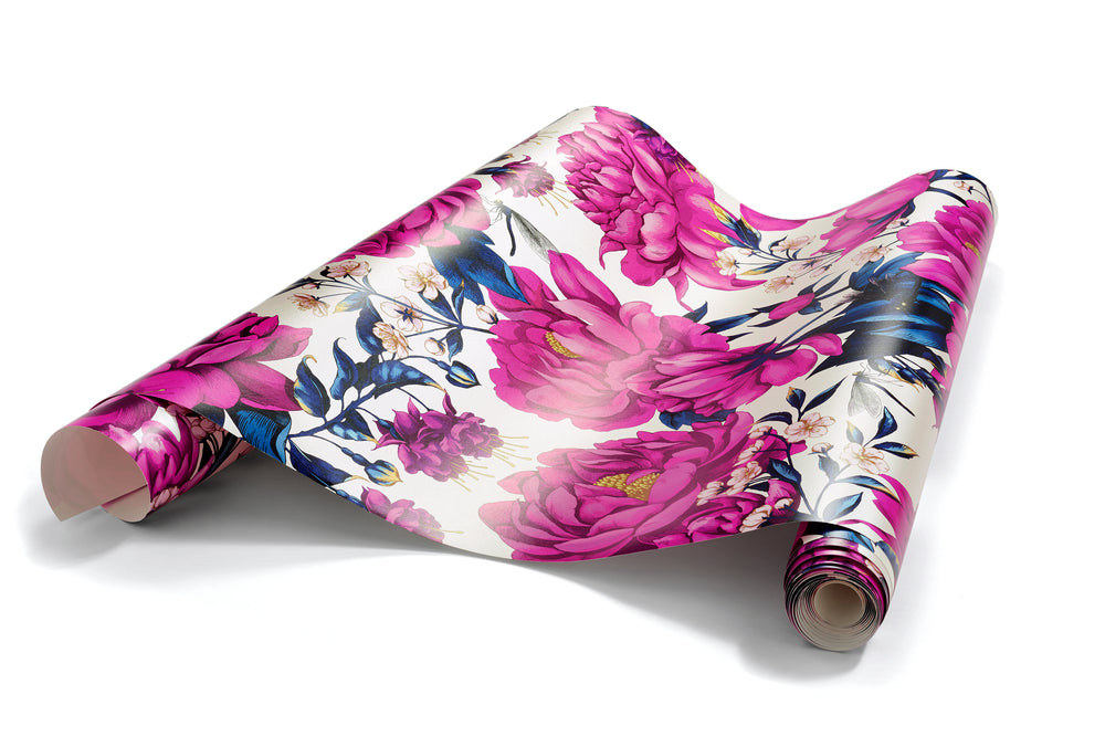 Infinite Possibilities - Oversized Hot Pink & Cobalt Blue Peony Floral Wallpaper, Shimmer Finish