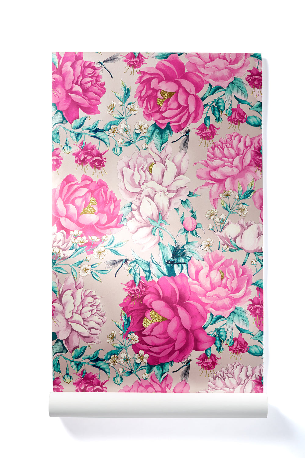Everyday Miracles - Oversized Pink Peony Wallpaper, Shimmer Finish