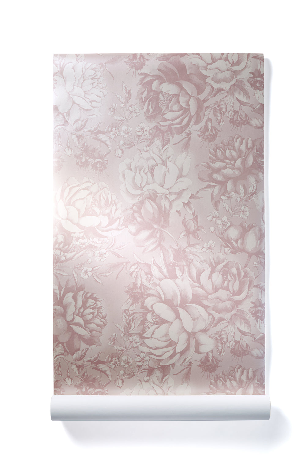 Infinite Heart - Oversized Blush Peony Floral Wallpaper, Shimmer Finish