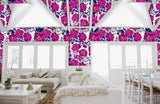 Infinite Possibilities - Oversized Hot Pink & Cobalt Blue Peony Floral Wallpaper