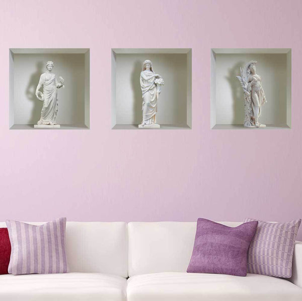 Sticker effet 3D - Statues Blanches