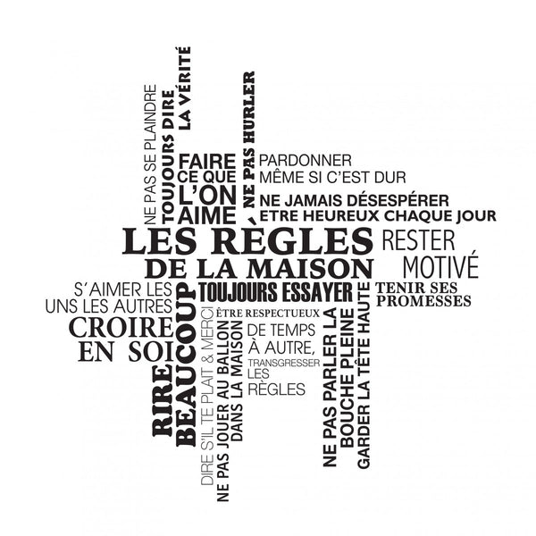 Sticker Les règles de la maison - Tag Cloud